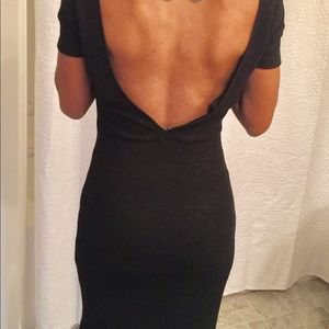 Zara knit black shimmer dress with deep v back